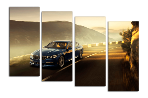 Модульная картина BMW на горной дороге
