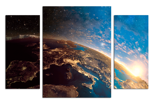 Модульная картина Европа с космоса